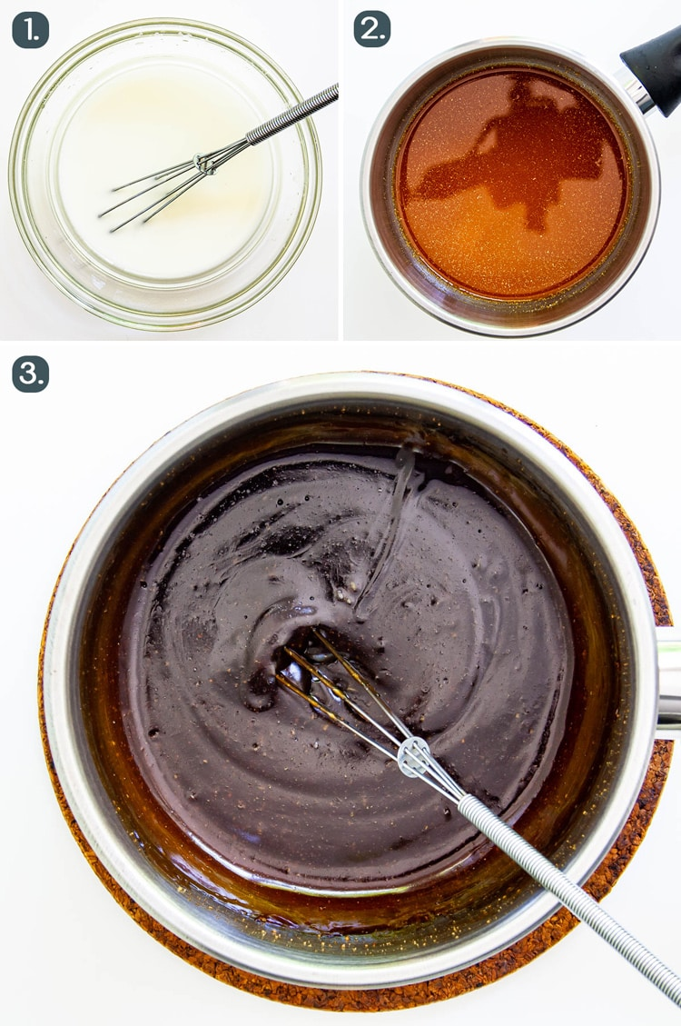 process shots showing how to make teriyaki sauce