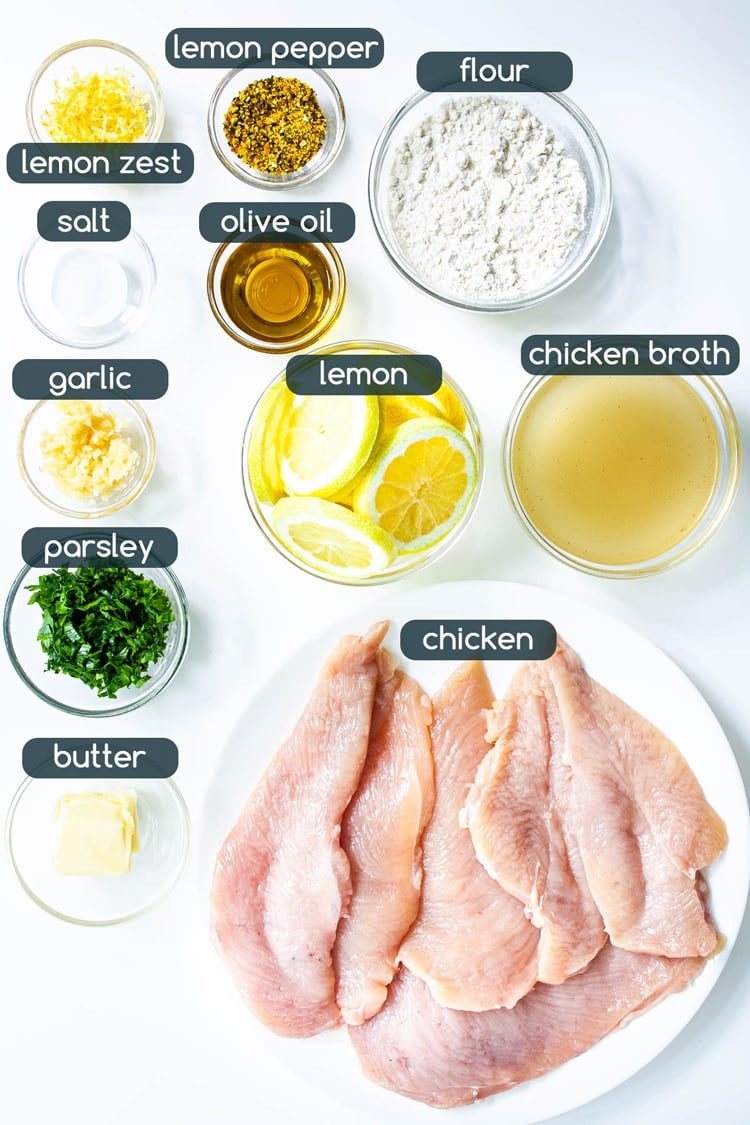 overhead shot of all ingredients needed to make Lemon Pepper Chicken