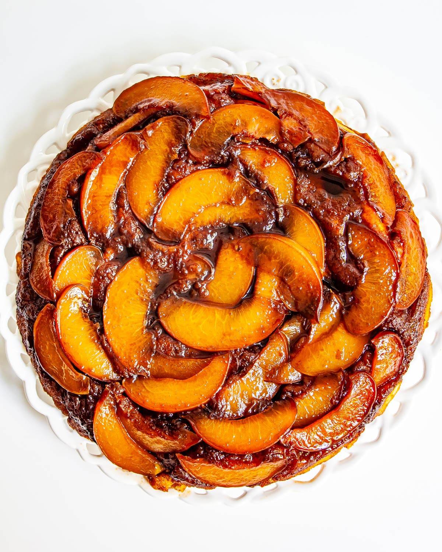Peach Upside Down Cake on a white plate
