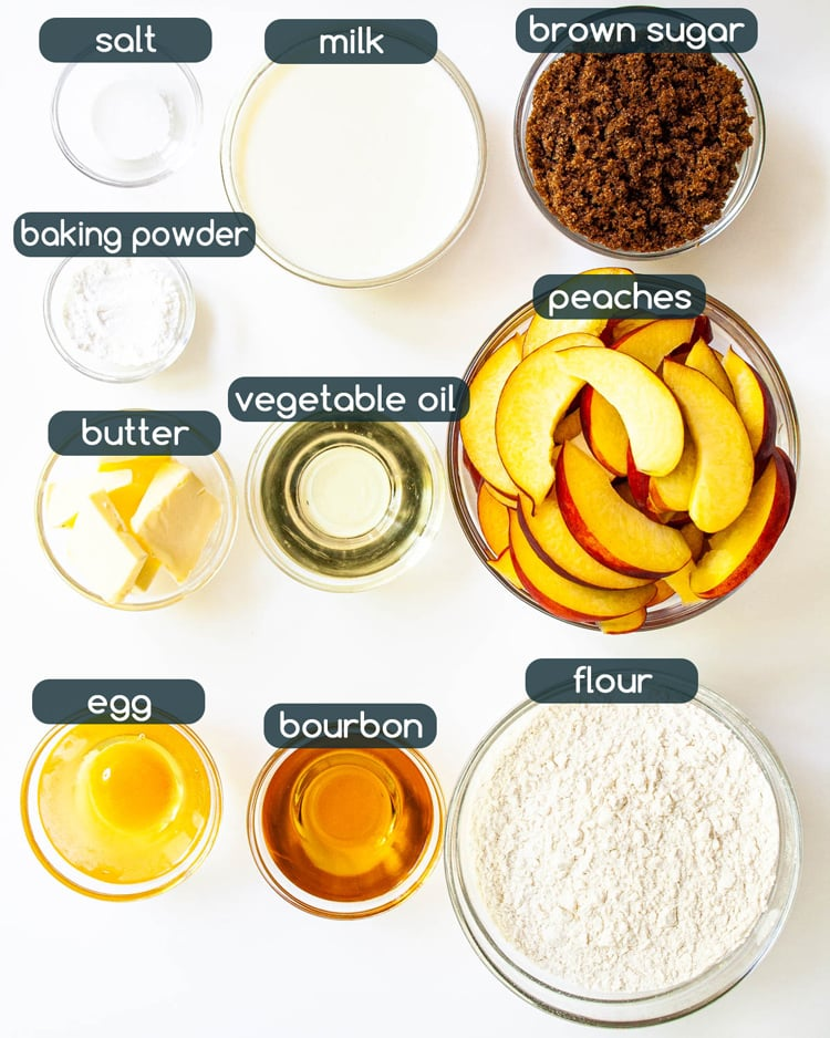 overhead shot of ingredients needed to make Peach Upside Down Cake