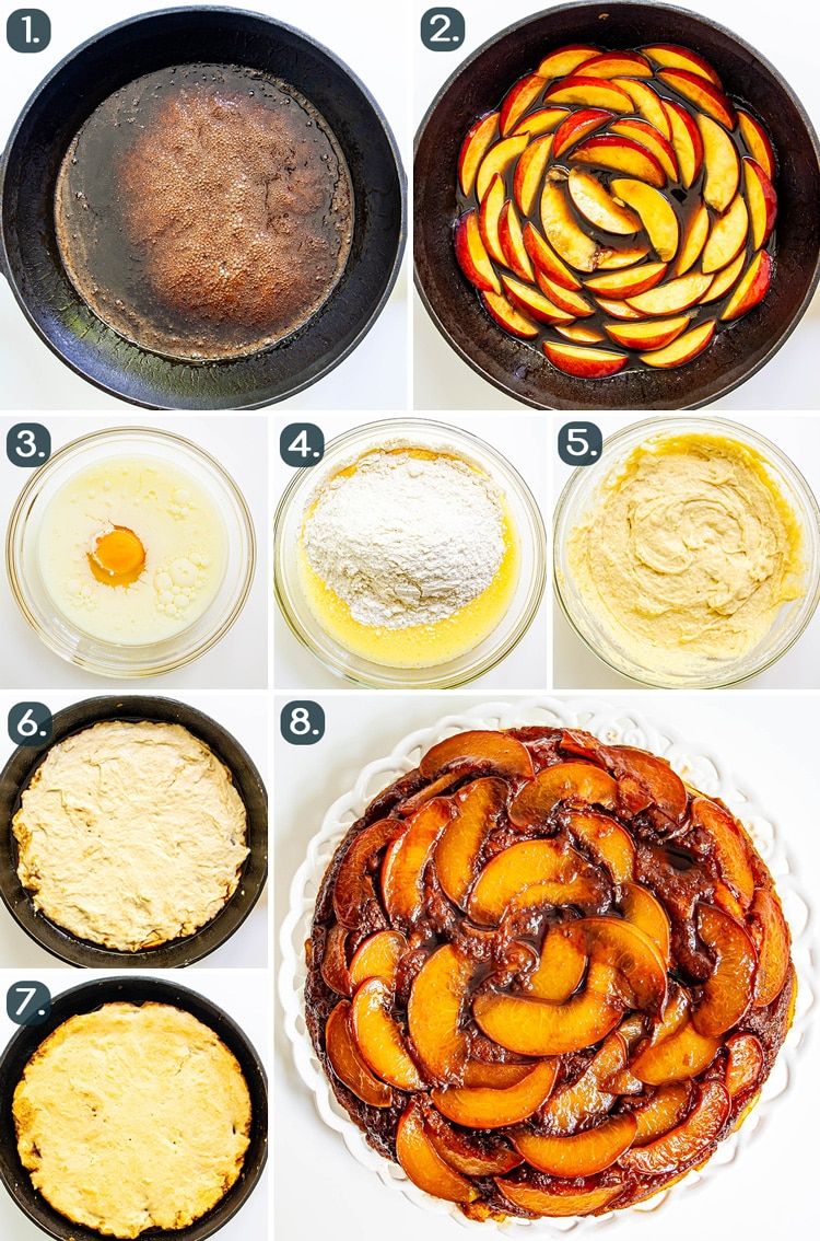 process shots showing how to make Peach Upside Down Cake
