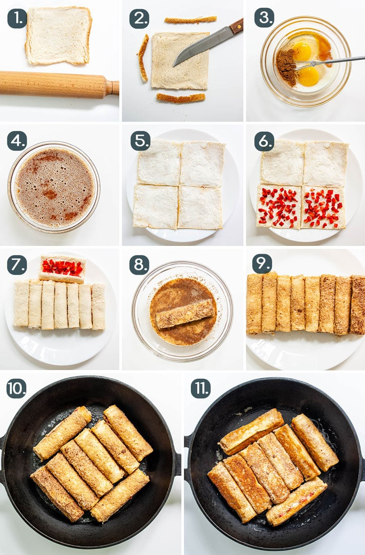 process shots showing how to make Strawberry Cream Cheese French Toast Roll Ups