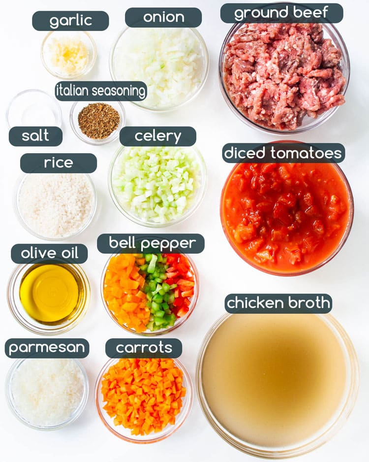 overhead shot of all ingredients needed to make stuffed pepper soup