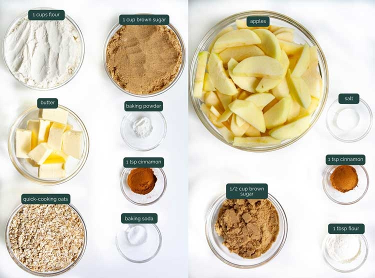 overhead shot of all ingredients needed to make apple crisp