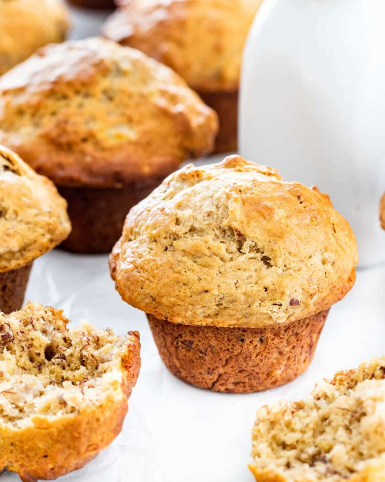 banana nut muffins on parchment paper