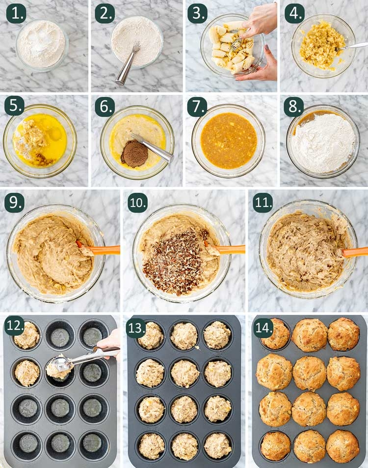 process shots showing how to make banana nut muffins