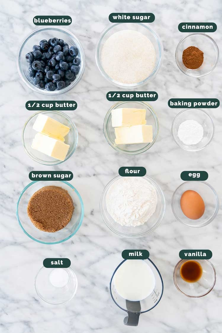 overhead shot of ingredients needed to make blueberry coffee cake