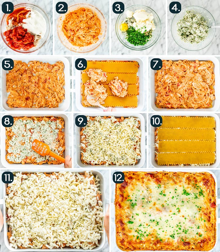 process shots showing how to make Buffalo Chicken Lasagna