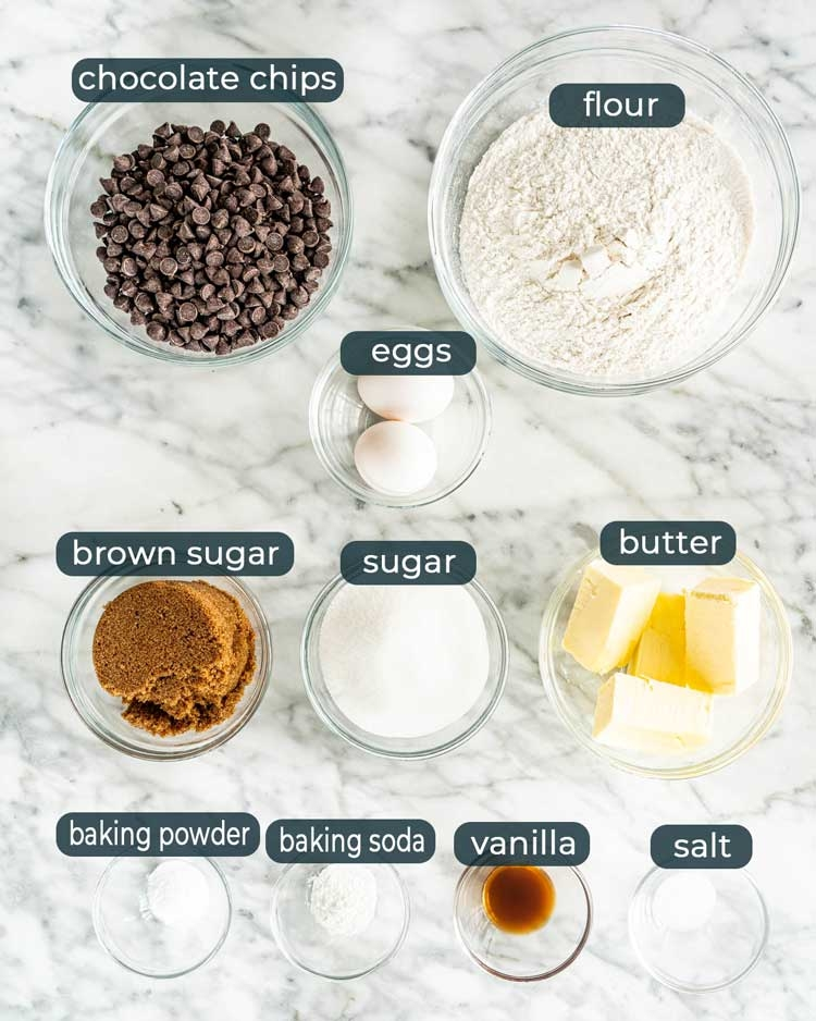 overhead shot of all the ingredients needed to make chocolate chip cookies