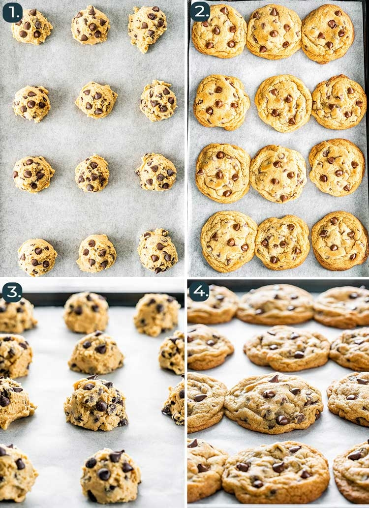 before and after baking pictures of chocolate chip cookies