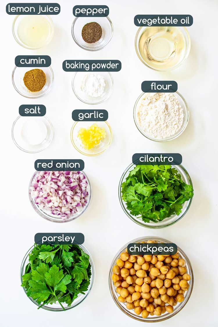 overhead shot of ingredients needed to make falafel
