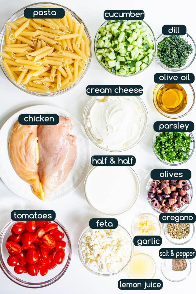 overhead shot of all ingredients needed to make greek chicken pasta