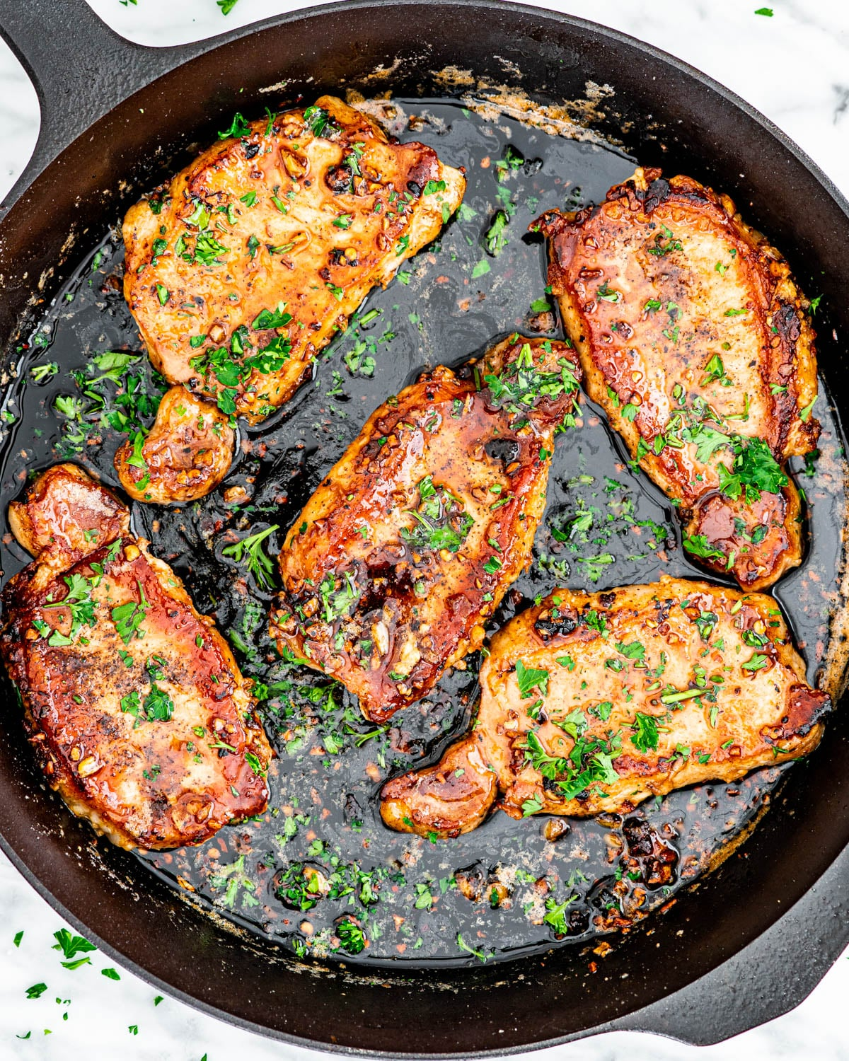 Honey Garlic Pork Chops in a skillet