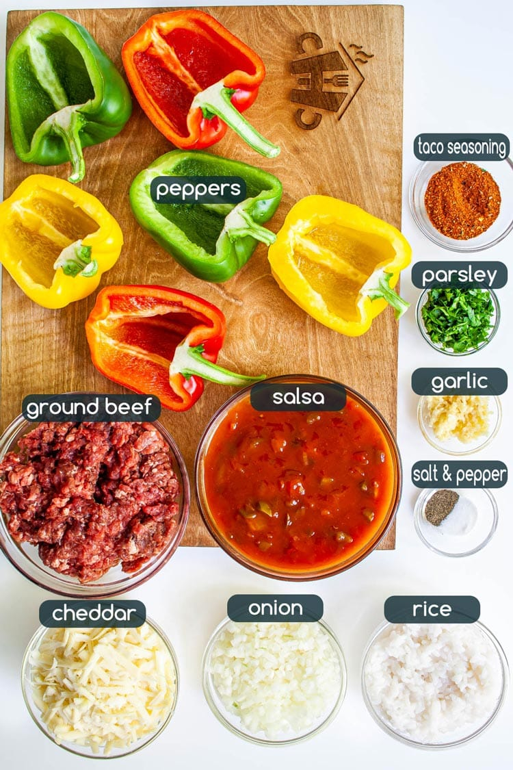 overhead shot of all ingredients needed to make mexican stuffed peppers