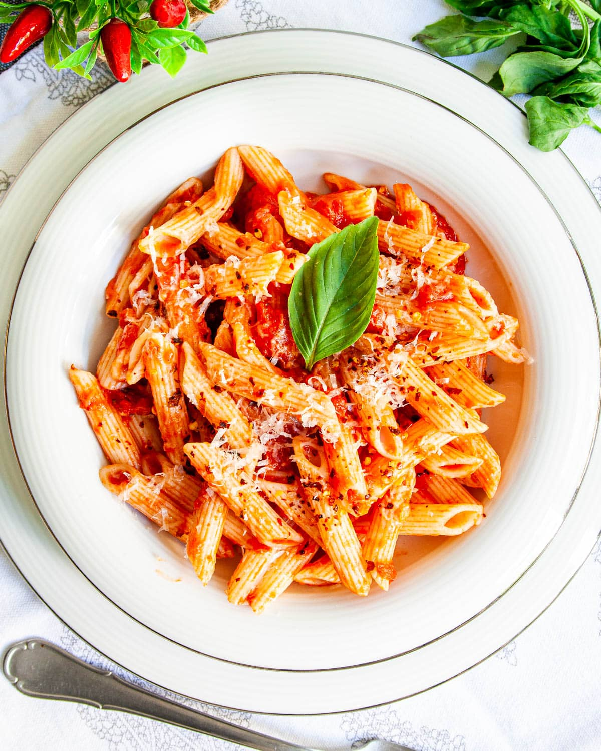 penne arrabbiata in a white plate