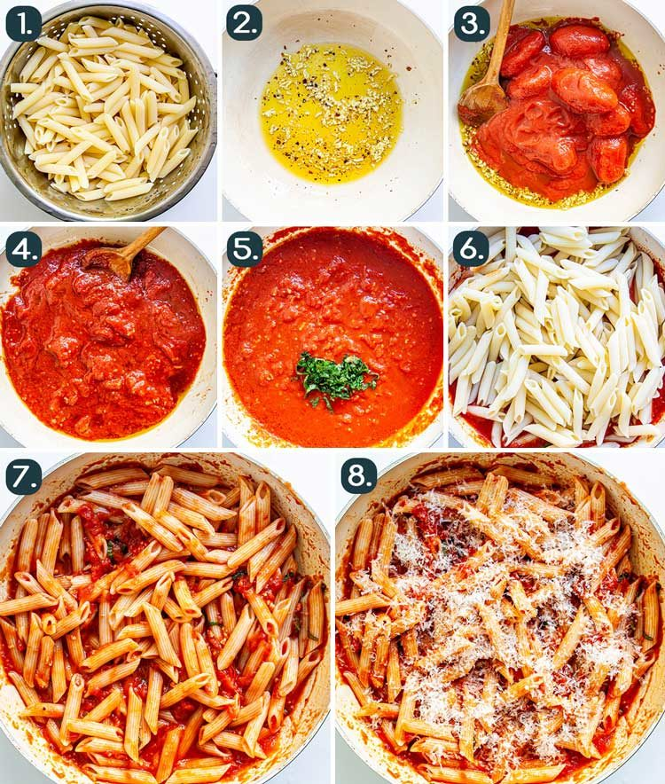 process shots showing how to make penne arrabbiata