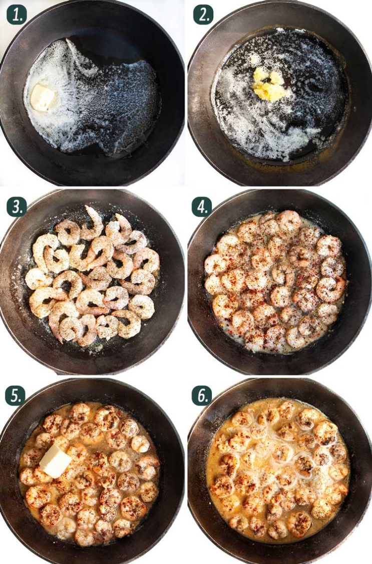 process shots showing how to make shrimp scampi