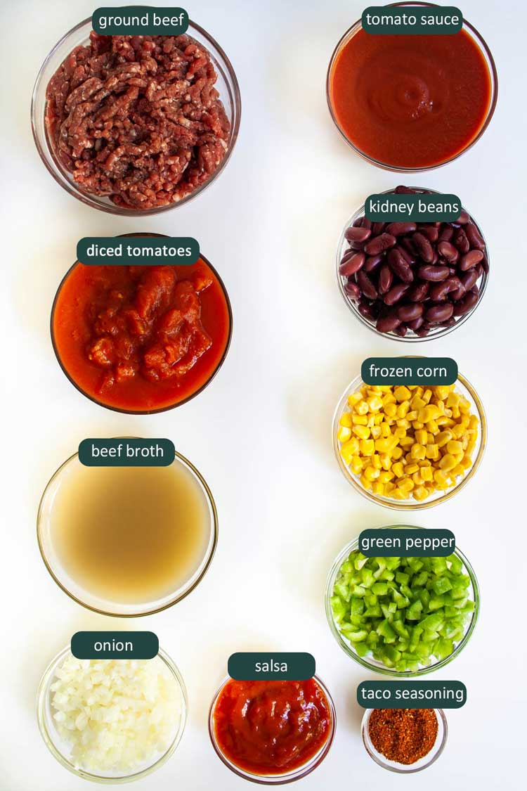 overhead shot of all ingredients needed to make taco soup