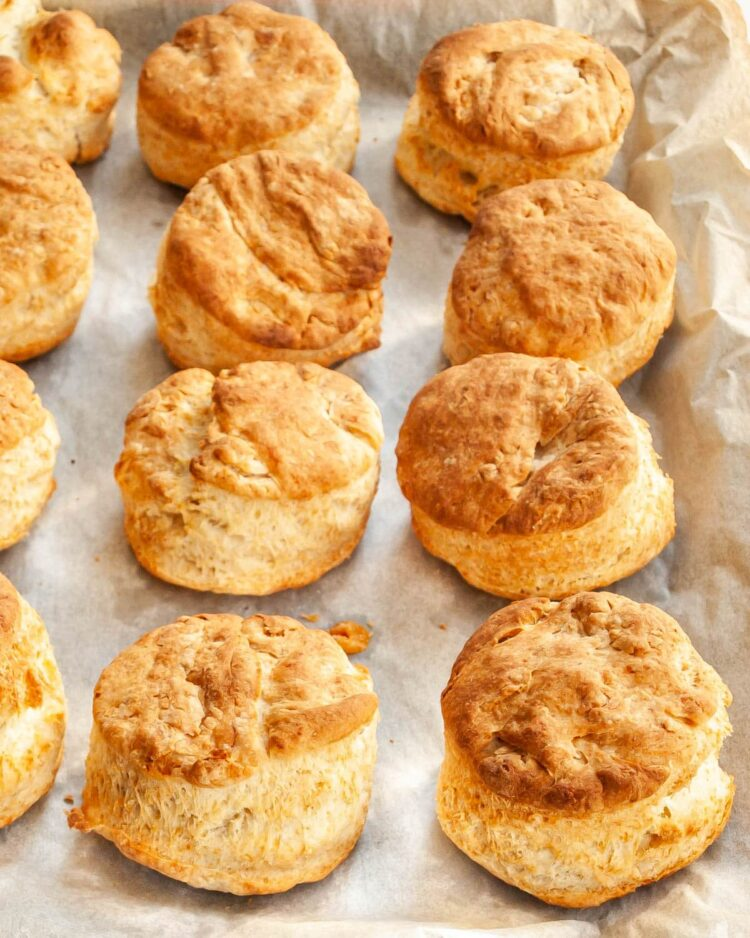 buttermilk parmesan biscuits on a baking sheet
