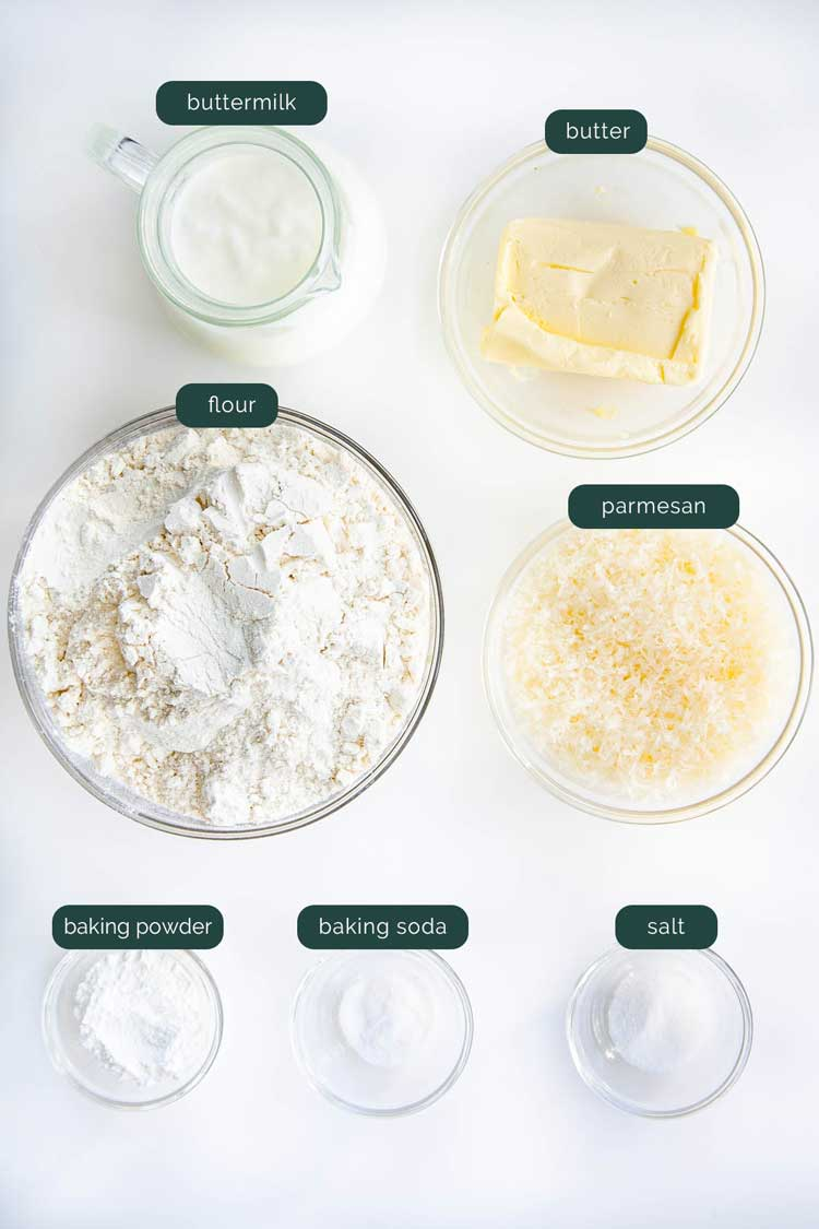 overhead shot of all the ingredients needed to make buttermilk parmesan biscuits