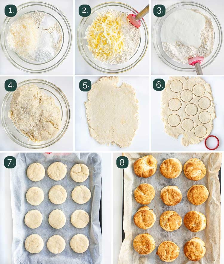 process shots showing how to make buttermilk parmesan biscuits
