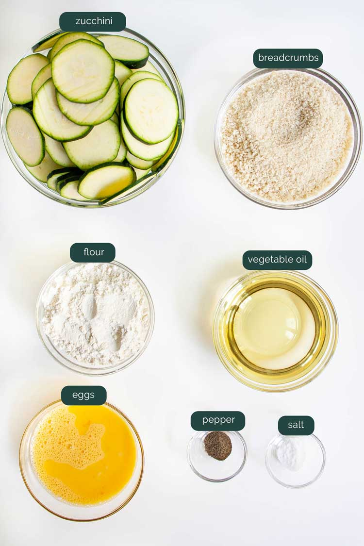 overhead shot of ingredients needed to make crispy fried zucchini