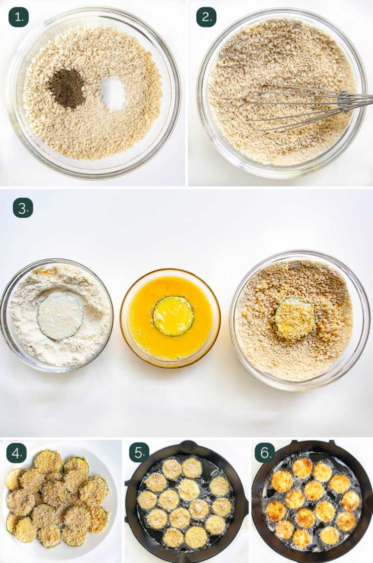 process shots showing how to make fried zucchini