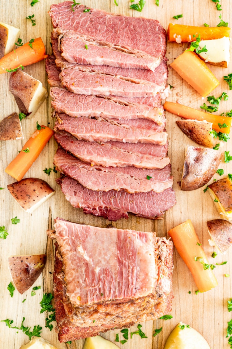 sliced corned beef on a cutting board