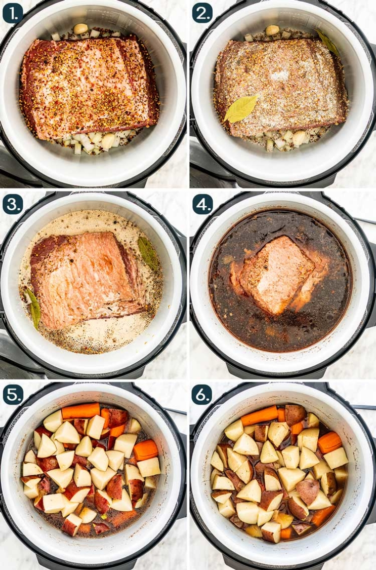 process shots showing how to make corned beef in the instant pot