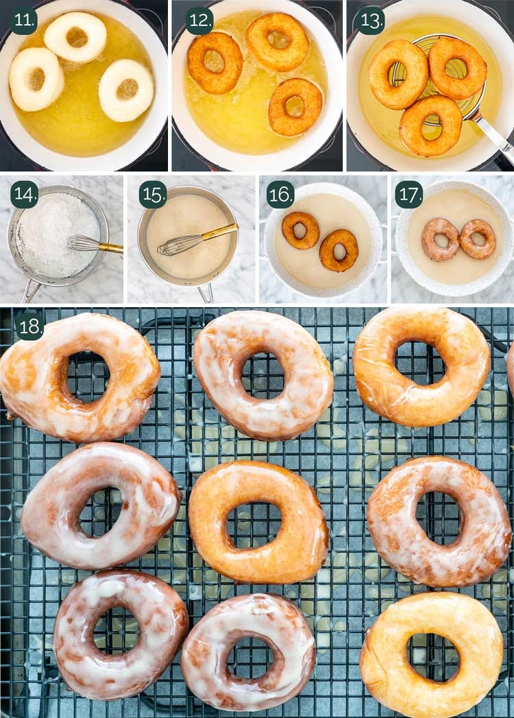 process shots showing how to fry donuts and glaze them