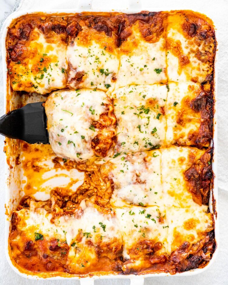 overhead shot of a lasagna cut into slices
