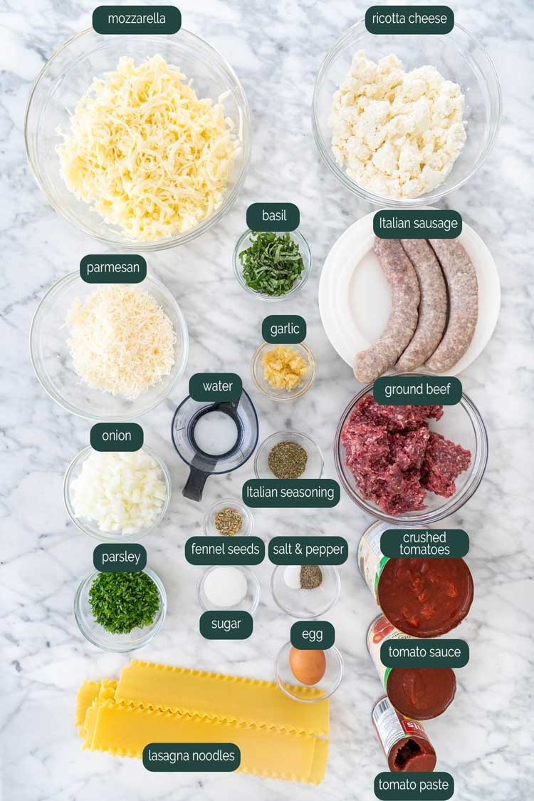 overhead shot of all the ingredients needed to make lasagna