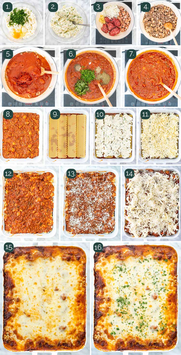 process shots showing how to make lasagna