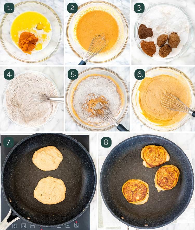 process shots showing how to make pumpkin pancakes
