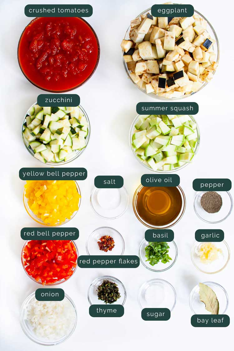 overhead shot of all ingredients needed to make ratatouille