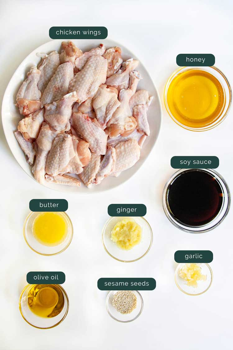 overhead shot of all the ingredients needed to make sticky honey soy chicken wings