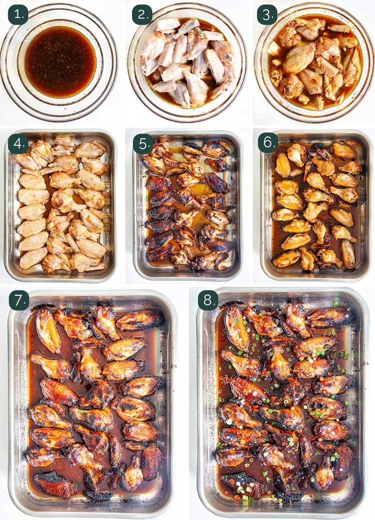 process shots showing how to make sticky honey soy chicken wings
