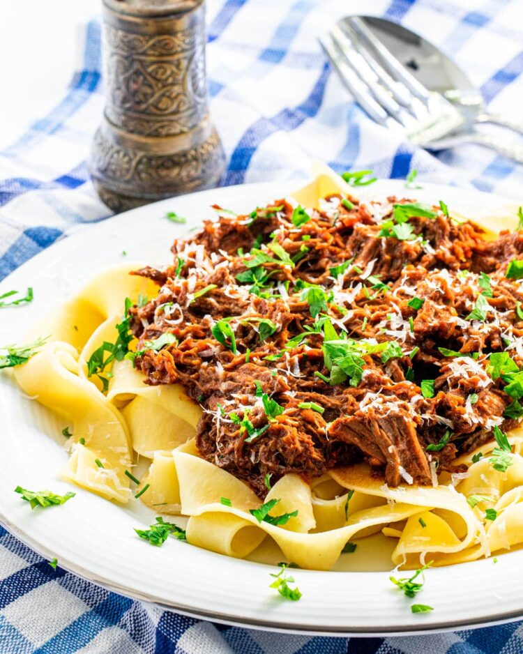 beef ragu over a bed of fettuccine