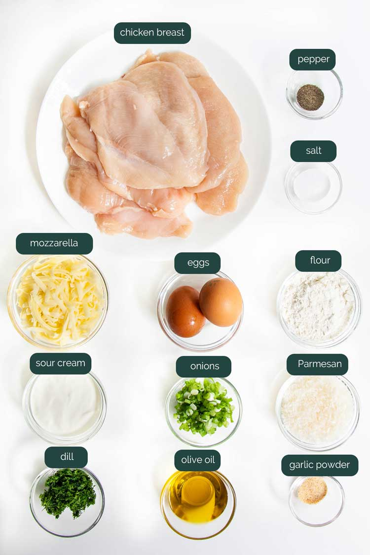 overhead shot of all the ingredients needed to make chicken fritters