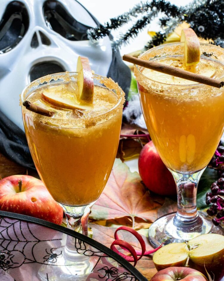 two glasses full of haunted orchard cocktails