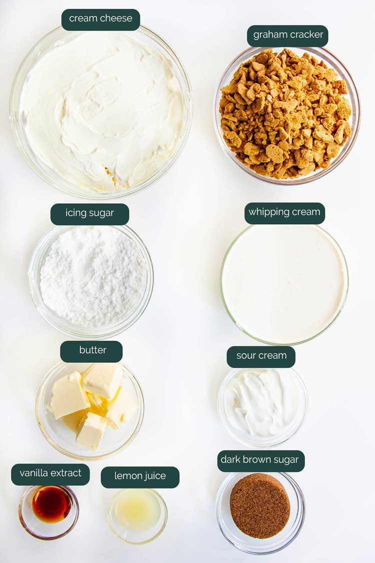 overhead shot of all ingredients needed to make no bake cheesecake