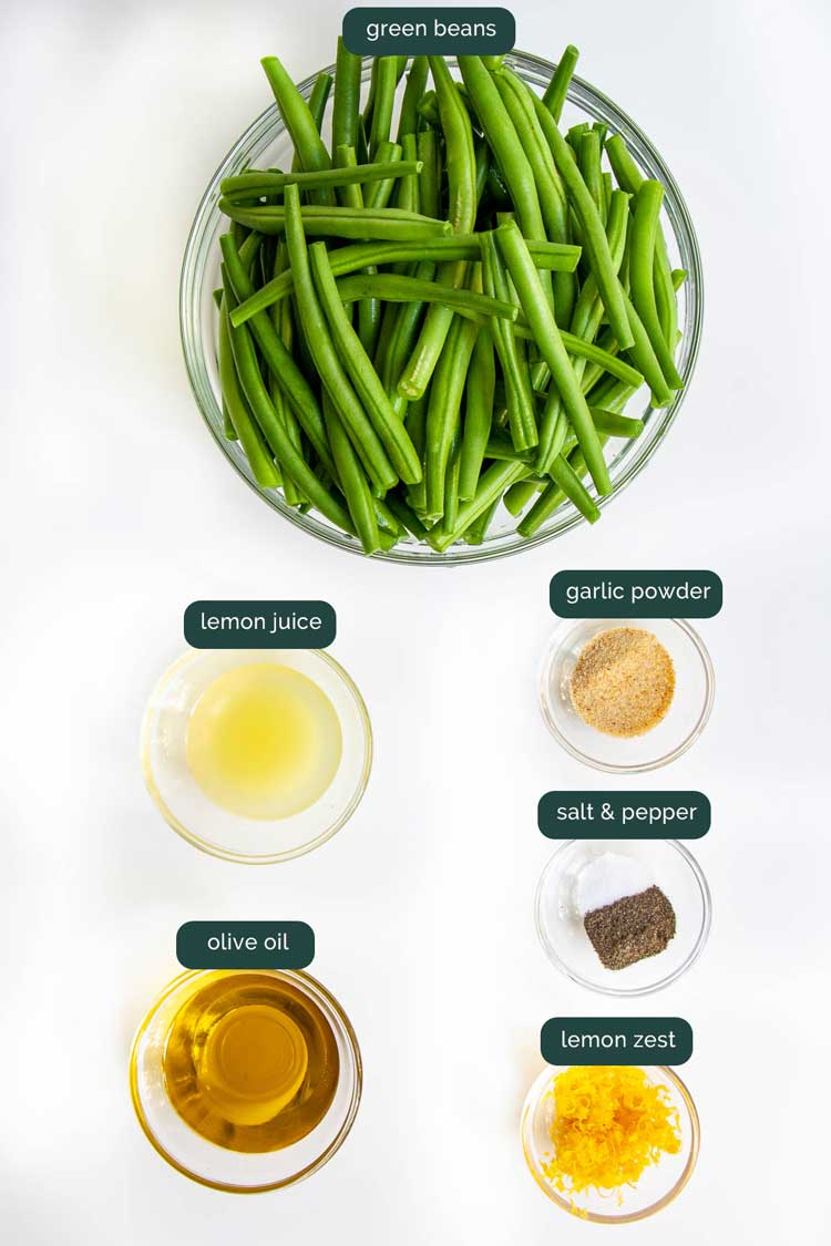 overhead shot of all the ingredients needed to make roasted green beans