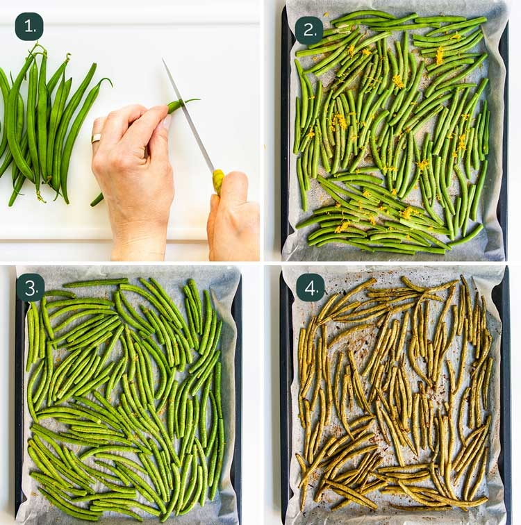 process shots showing how to make roasted green beans