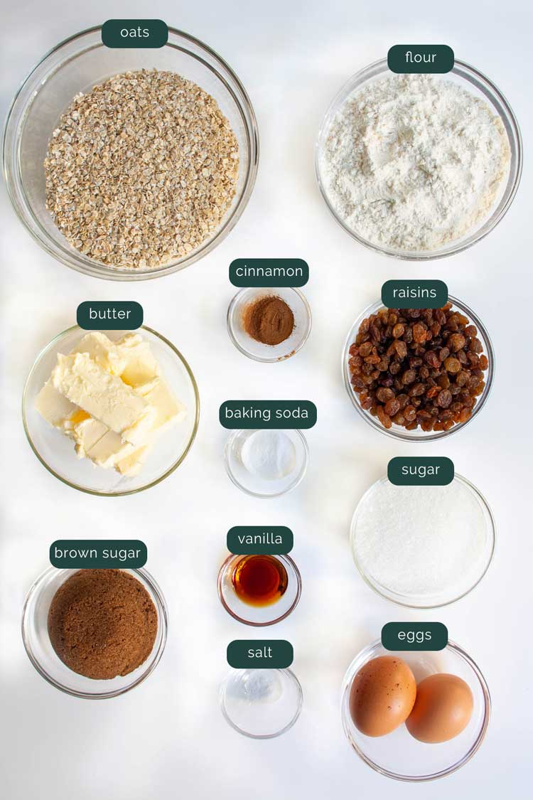 overhead shot of ingredients needed to make oatmeal cookies