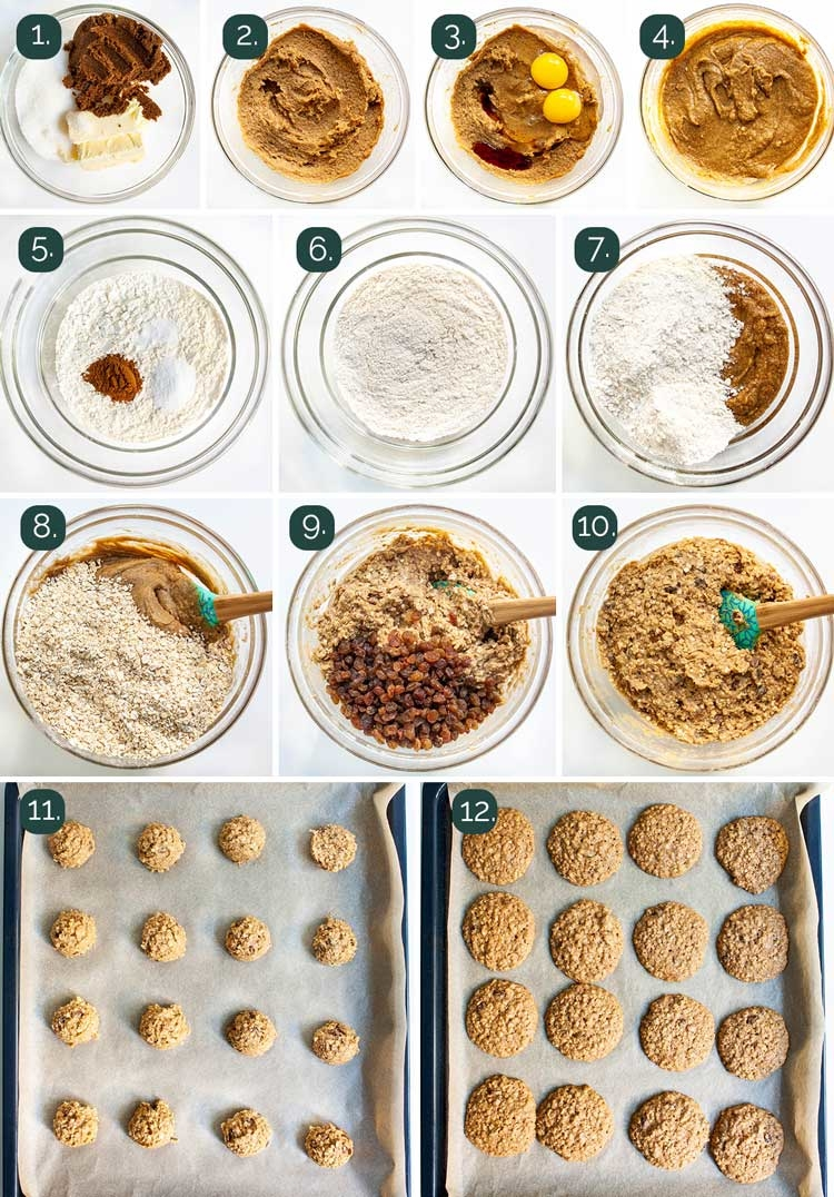 process shots showing how to make oatmeal cookies