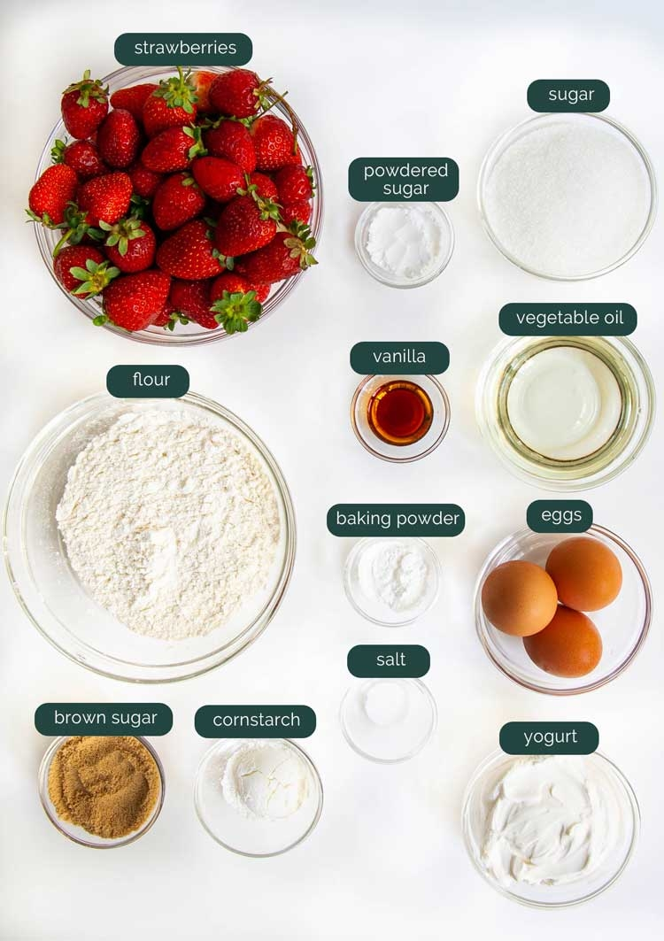 overhead shot of all the ingredients to make strawberry cake
