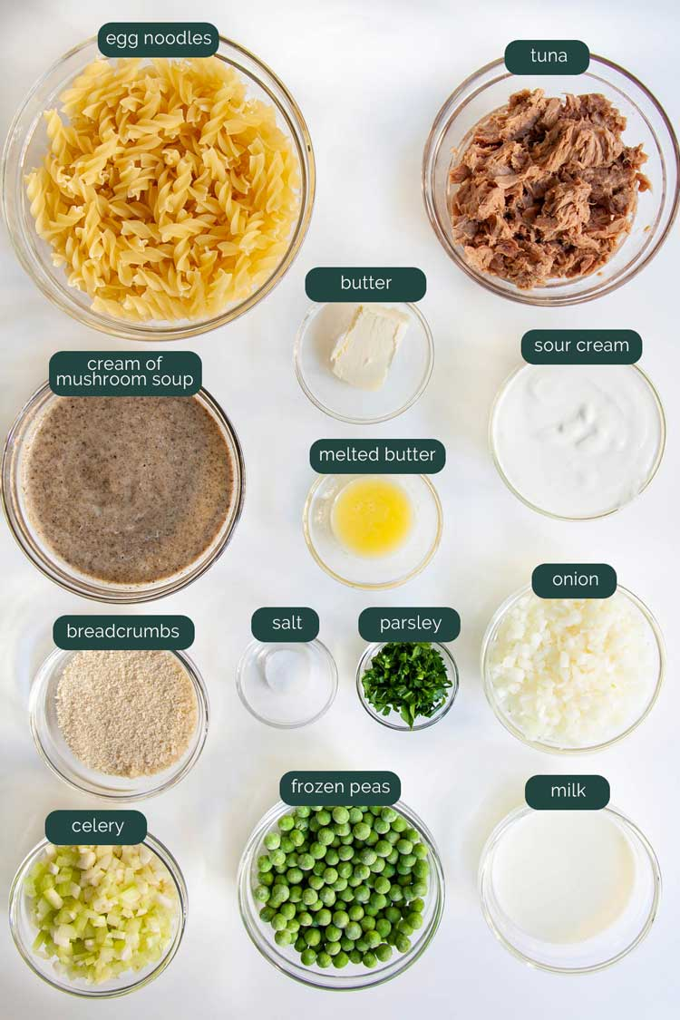 overhead shot of all the ingredients needed to make tuna noodle casserole