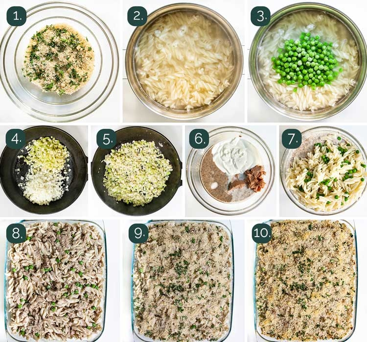 process shots showing how to make tuna noodle casserole