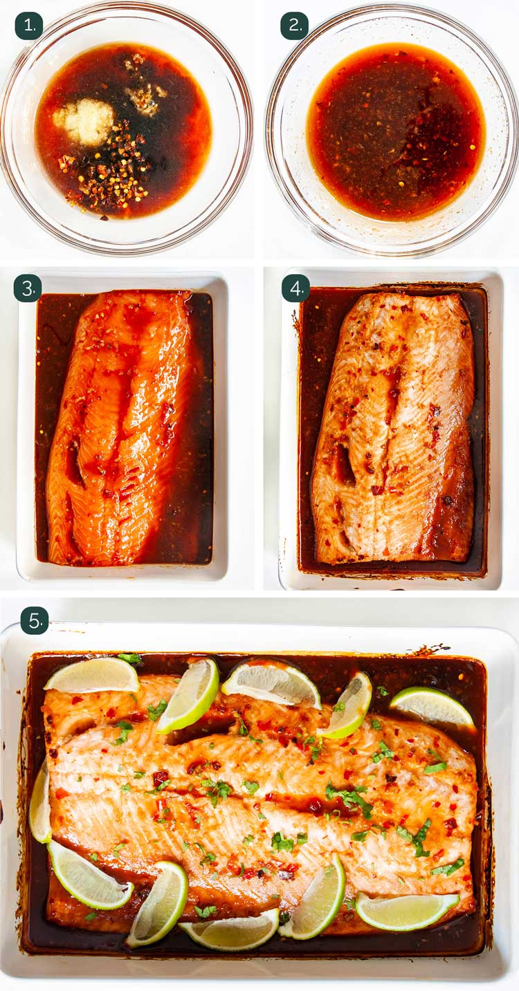process shots showing how to make thai salmon