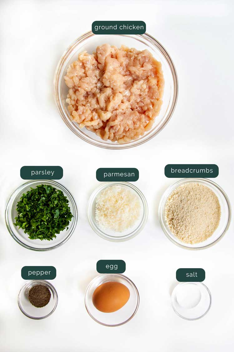 overhead shot of ingredients needed to make chicken meatballs